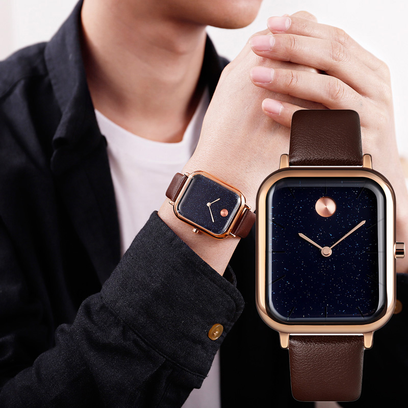 Couple Quartz Watch Innovative Starry Sky Rectangular Dial Men Women Wrist Watch D88