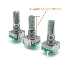 Plum handle 20mm 15mm Rotary Encoder Coding Switch EC11 Digital Potentiometer With Push Button Switch 5 Pin 20 Position 2pcs half plum axis rotary encoder handle length 15mm 20mm code switch ec11 digital potentiometer with switch 5pin