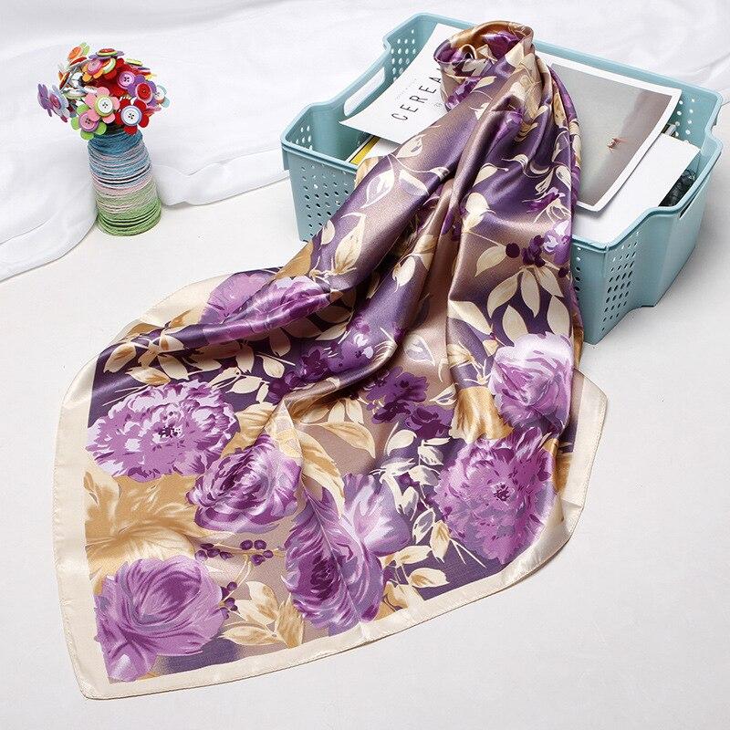 Square Scarves Women Chain Print Sunscreen Silk Scarf Female Silk Satin Long Scarf Dual-use Shawl Beach Towel Shawl Purple Daisy