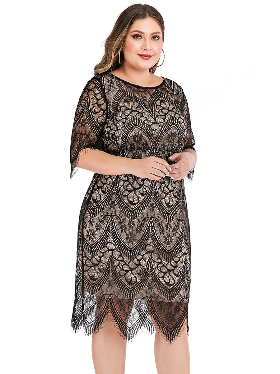 Elegant O Neck Half Sleeve Lace Floral Midi Dress Plus Size 5