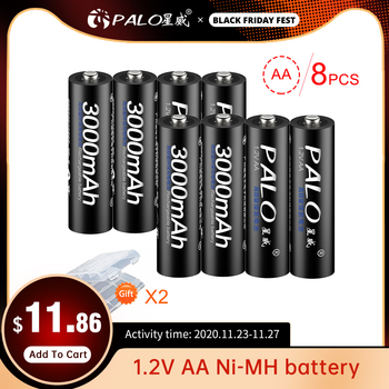 PALO 16Pcs Original 1.2V AA Batteries Rechargeable Battery Ni-MH Pre-charged Bateria For Flashlight Microphone Camera