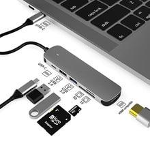 USB C Hub Docking Station Aluminium Alloy Type C to USB3.0 4K HDMI-Compatible SD PD TF for Macbook Pro HP DELL Lenovo Samsung S8