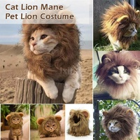 Pet Clothes Lion Hair Mane Ears Head Hats Pet Halloween Costume Costume Muffler Scarf Dog Costumes Cat Cosplay Costume Cute Wig