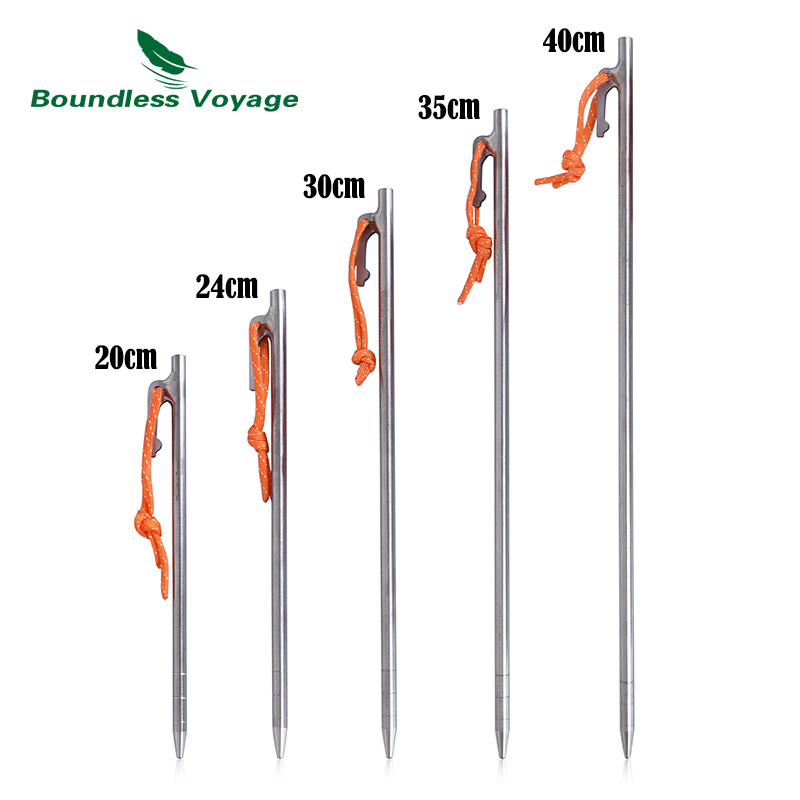 Boundless Voyage Titanium Tent Pegs Camping Tent Nails Stakes Heavy Duty Ground Pin Tent Accessories For Hard Ground 4/6pcs