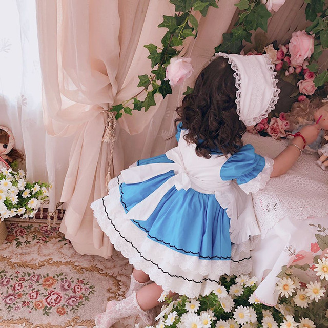 VTG baby custom sleepwalking Alice short sleeved princess dress hundred fold dress girl retro court dress for party and wedding