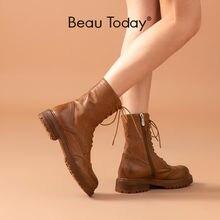 Ботинки женские до середины икры из конской кожи с круглым носком