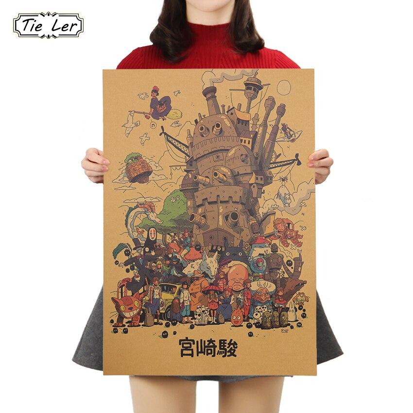 TIE LER Cartoon Animation Collection Classic Kraft Paper Cafe Bar Poster Retro Wall Sticker 50x35cm