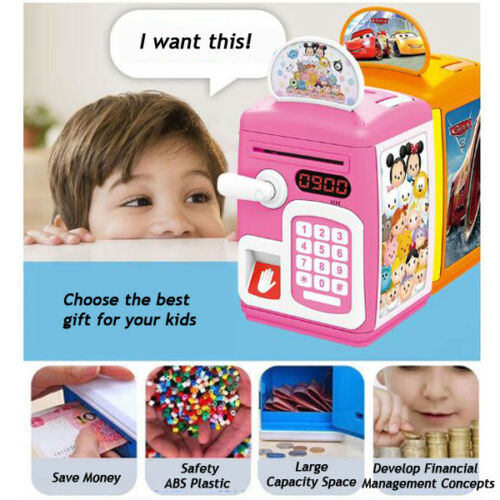 Kids Money Saving Bank Electronic Cash Coin Deposit Box Cartoon Fingerprint Sensing ATM Password Creative Children Gift Toys