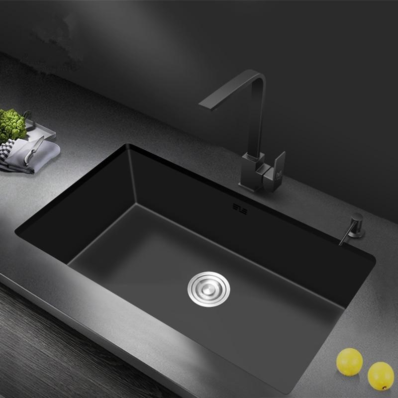 Dissipadores de cozinha nano pia preta embutidos sob a bacia contrária 304 de aço inoxidável pia de cozinha única tigela-preto fosco