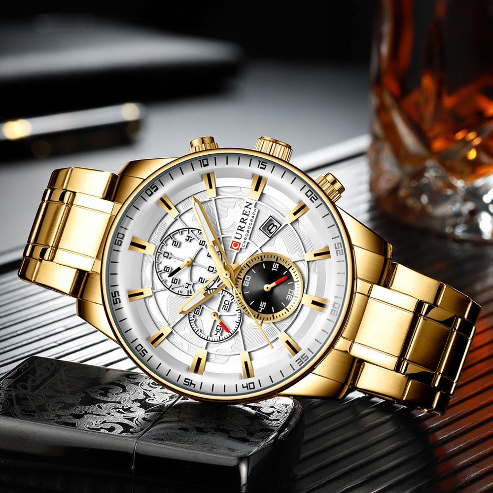 H48abd25b9030491a8155f46990df724bO Men's Watches CURREN Top Luxury Brand Fashion Quartz Men Watch Waterproof Chronograph Business Wristwatch Relogio Masculino