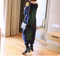 New Brand Autumn Winter Vintage Plaid Knitted Dress Women O Neck Long Sweater Party Dresses Vestidos Outwear LX2187