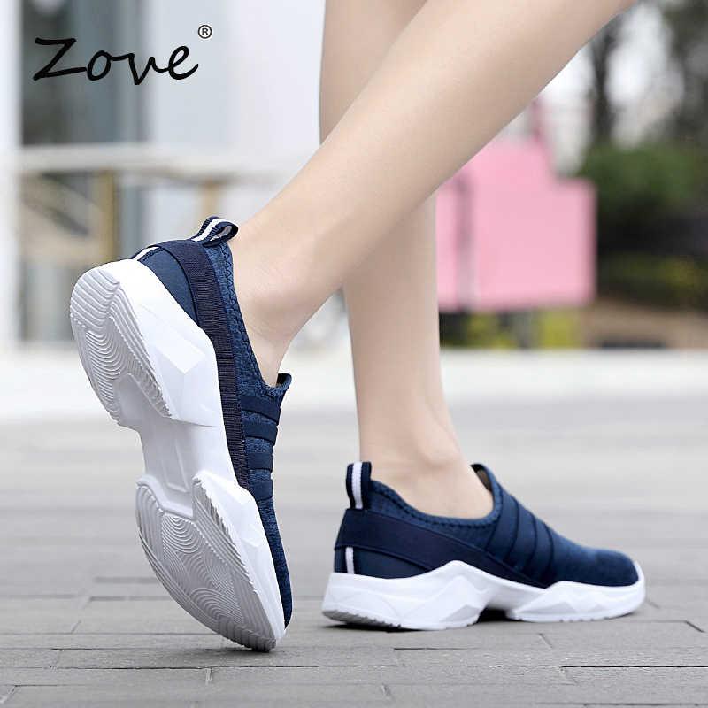 ZOVE/женские кроссовки; обувь на плоской подошве; коллекция 2019 года; летние дышащие сетчатые повседневные кроссовки без застежки; Женская легкая ходьба; обувь на плоской подошве