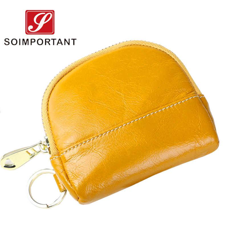 Originality ของแท้น้ำมันขี้ผึ้งหนังกระเป๋าสตางค์ผู้หญิง Mini Slim Shell เหรียญกระเป๋าสตางค์หญิงคลัทช์ Magic บัตร Walet Key กระเป๋า