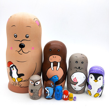 10pcs Russian Matryoshka Dolls Basswood Creative Nesting Dolls Gift Russian Traditional Feature Ethnic Style Unisex DIY Dolls