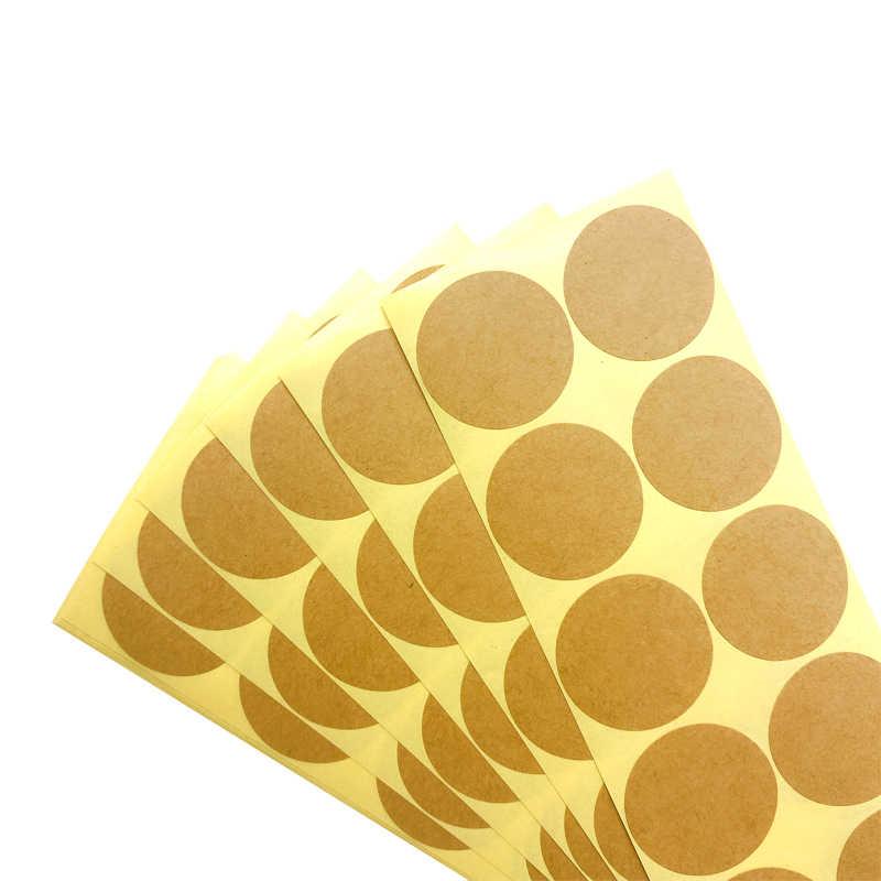 100 ชิ้น/แพ็ค VINTAGE คราฟท์ป้ายสติกเกอร์รอบเส้นผ่านศูนย์กลาง 33 ~ 35 มม.หนังสีเปล่าสติกเกอร์