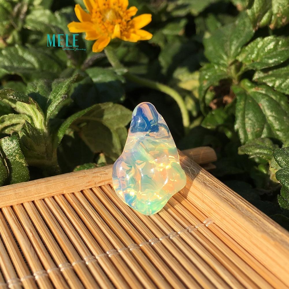 Opale naturelle Alien14 * 10.8*14mm9. 5ct pierre nue bricolage personnalisé pendentif boucle d'oreille anneau avec pierre - 3