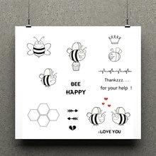 Azsg happy bee прозрачные штампы для скрапбукинга diy картинки/Открытки