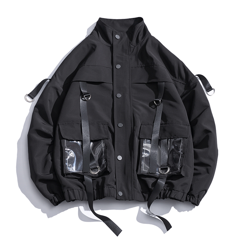 2020 Men Military Jacket Coats Casual Windbreaker Ribbons Pockets Men's Overalls Bomber Jacket Hip Hop Streetwear Man Outwear