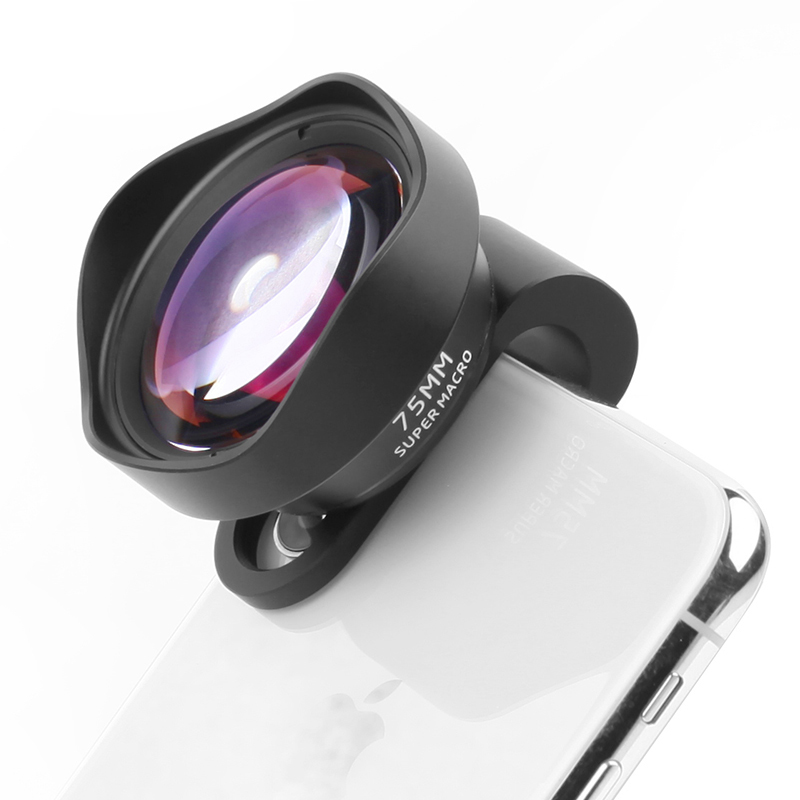75MM 10X Macro Phone Camera Lens 17MM Thread Mobile Lens Clip On Lenses for iPhone 11 8 7 Pro Max Android 1.33X Anamorphic Lens