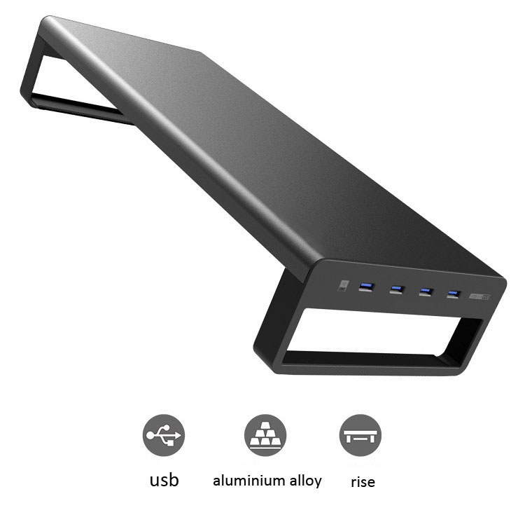 Aluminium-Alloy-Monitor-Stand-Computer-Base-Table-With-4-Usb3-0-Laptop-Desk
