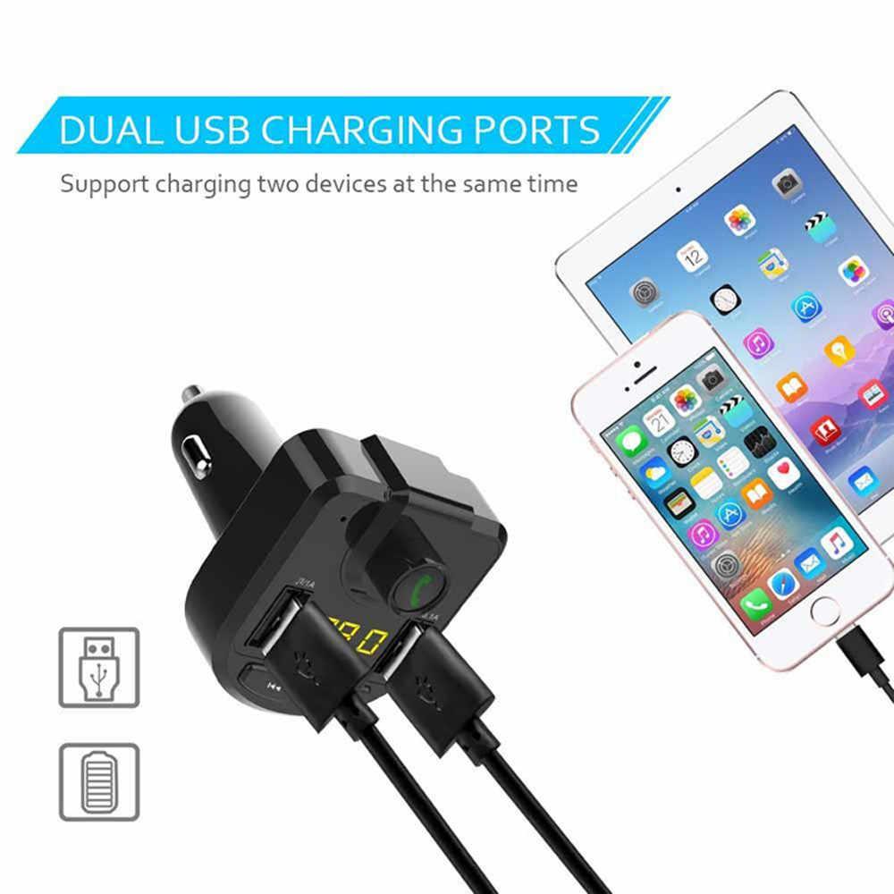 車の Bluetooth FM トランスミッターワイヤレスハンオーディオ受信機の自動 LED MP3 プレーヤー 2.1A デュアル USB 急速充電器カーアクセサリー