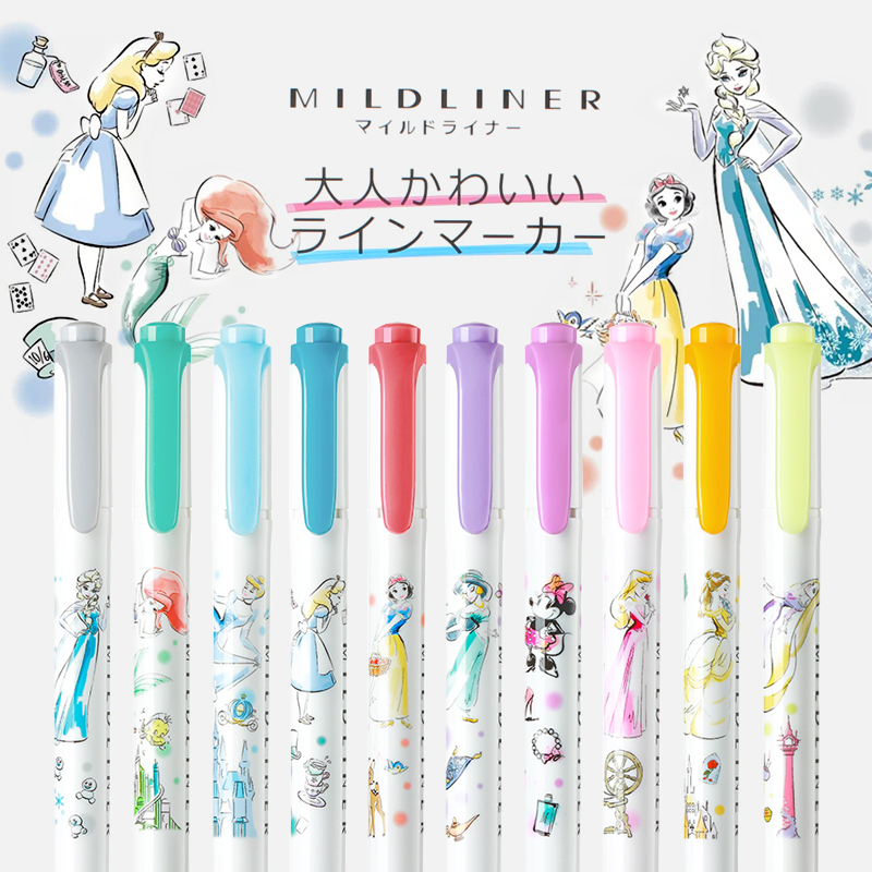 10Pcs Japanese ZEBRA Color Highlighter Disney Princess Joint Limited Edition WKT7-DS2 Light Fluorescent Double-headed Marker