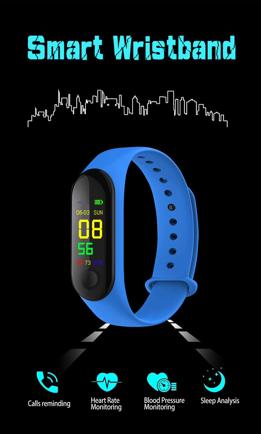 M3 Pro Smart Watch Sport Smart Band Blood Pressure Monitor Smart Wristband Smartwatch Bracelet M3Plus Wristband for Men Women A2