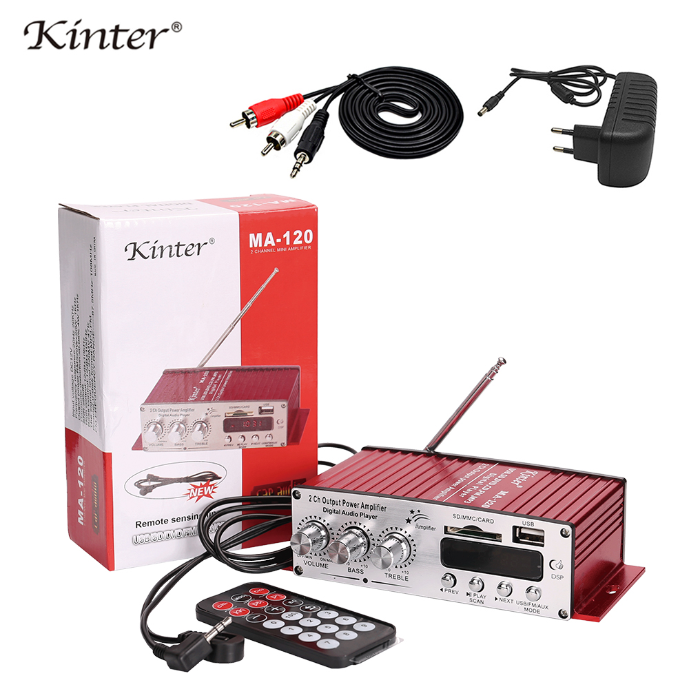 Kinter MA-120 Mini Amplifier audio 2.0CH 20W DC12V with USB SD FM play stereo sound supply power adapter in home car Motorcycle