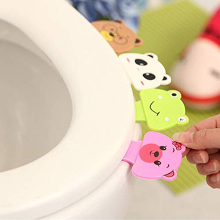 4pcs New Cute Cartoon Toilet Cover Lifting Device Bathroom Toilet Lid Portable Handle Bathroom Toilet Seat Accessories