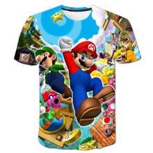Детские летние футболки с 3d мультяшным принтом костюм для мальчиков