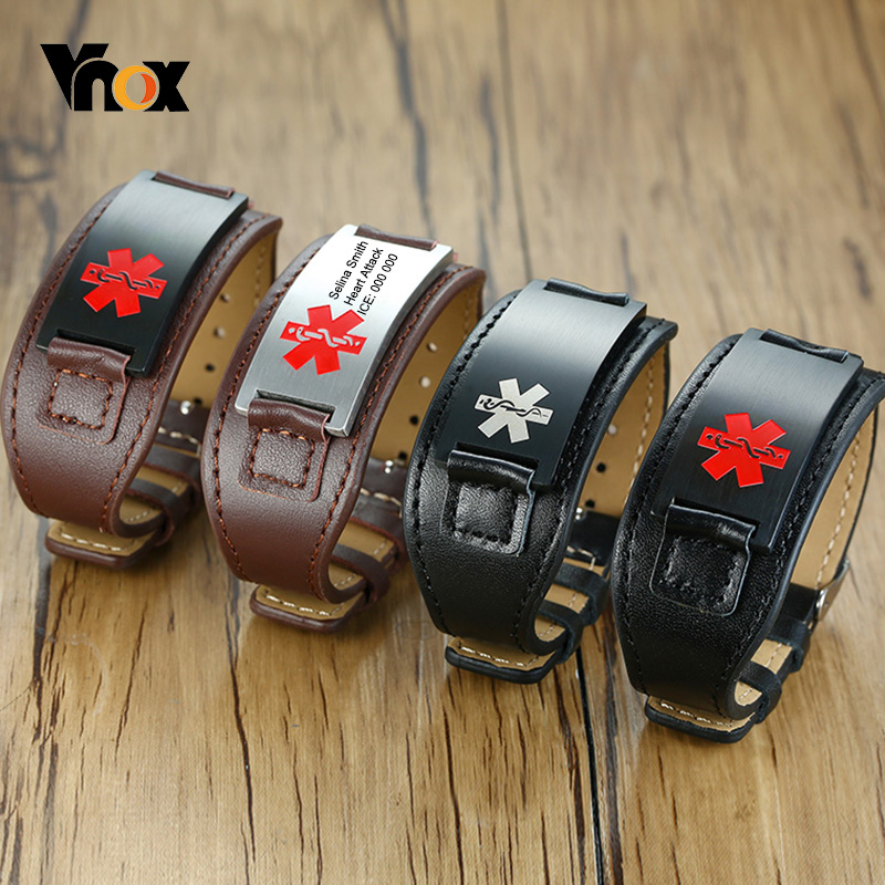 Vnox Free Custom Men ID Wristband Genuine Leather Bracelets With Stainless Steel Medical Bar
