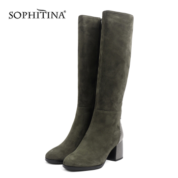 SOPHITINA Fashion Women's Boots High Quality Kid Suede Comfortable Round Toe Square Heel Special Shoes New Solis Boots SC429 sophitina fashion round toe ladies boots casual metal decoration med heel shoes winter basic solid square heel women boots so203
