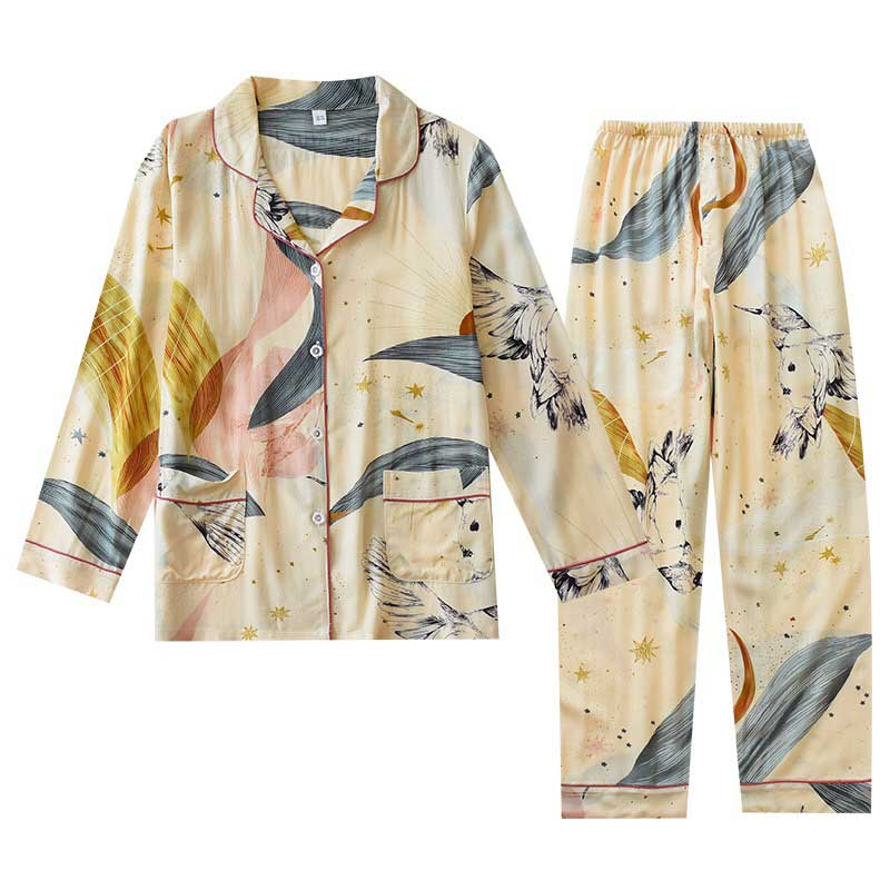 Spring And Summer New Ladies Pajamas Set Simple Style Floral Printed Loose Sleepwear Women Full Cotton Cardigan+Pants Homewear
