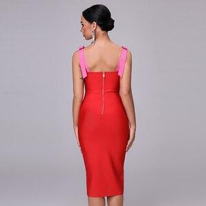 Image 4 - 高品質セクシーな赤パーティー包帯クリスマスドレス 2020 新もみじ女性のファッションエレガントなパーティースパゲッティ弓ボディコンドレス