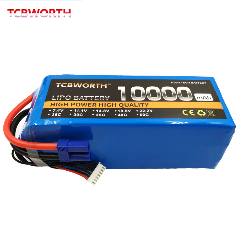 RC LiPo Battery 22.2V 10000mAh 25C 6S RC Li-Poly Batteries For RC Models Airplane Car Boat Drone Tank Helicopter AKKU image