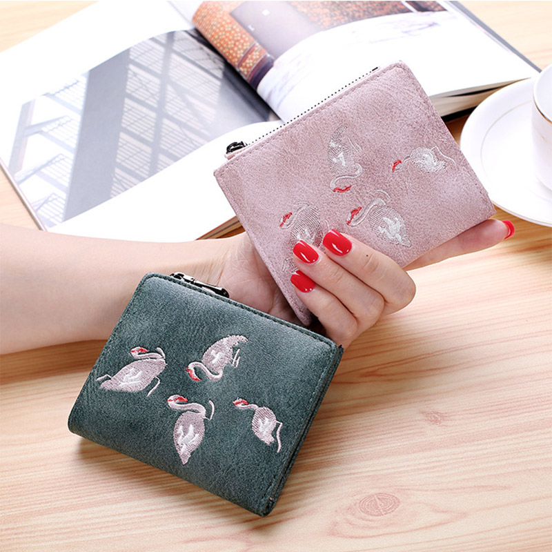 2020 Embroidery Short Wallet For Women Mini Personality Student Ultra-thin Zipper  Womens Wallets And Purses Cute Bird Money Bag
