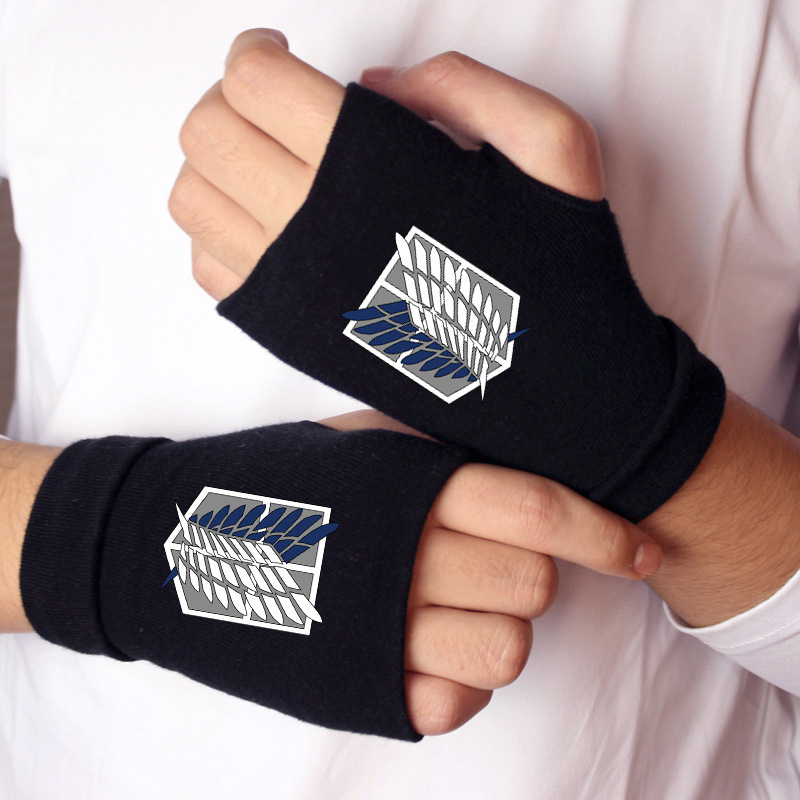 <font><b>Anime</b></font> Attack on Titan Madara Cat Finger Cotton Knitting Wrist <font><b>Gloves</b></font> Mitten Lovers <font><b>Anime</b></font> Accessories Cosplay Fingerless <font><b>Gloves</b></font> image