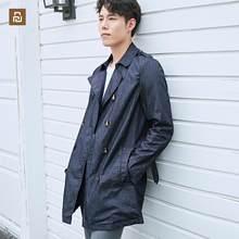 Novo youpin dmn clássico à prova de chuva denim trench coat três anti-tecnologia denim tecido leve e quente moda para o homem