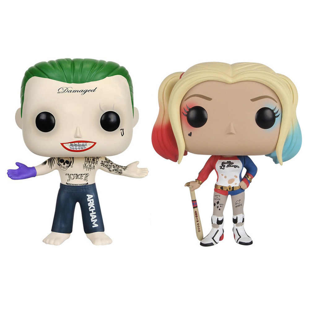 Funko Pop DC Suicide Squad 10 ซม.Harley Quinn & Joker Vinyl Action Figure ของเล่น