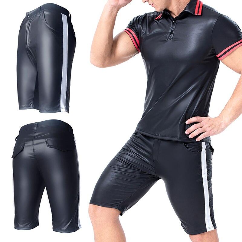 Men PU Leather Shorts Casual Sweatpants Tight Slim Fitness Clothing Bodybuilding Male Shorts Plus Size Men Trunk S-XXXL