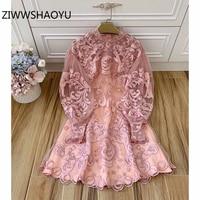 ZIWWSHAOYU Autumn Women Mesh Embroidery Dresses Runway Designer Ladies Pink Stand Collar Elegant Vintage Mini Dress Vestidos
