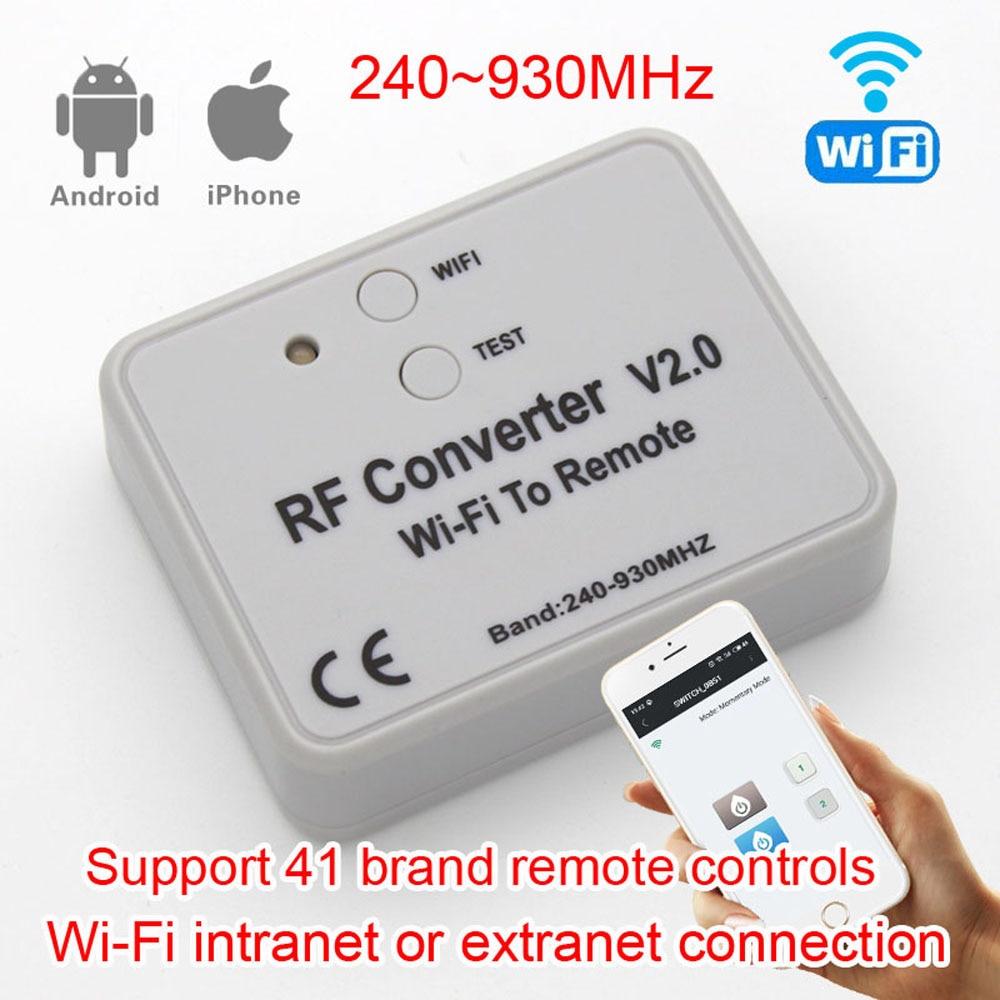 Wifi para controle remoto rf converter 315 330 433 868 mhz universal wifi garagem portão porta interruptor de controle remoto código fixo