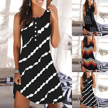 2021 Women's Fashion Casual Sleeveless Vest Print Maxi Tank Knee-length Dress Boho Sexy