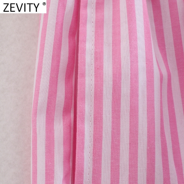 Zevity Women Fashion Patchwork Striped Print Casual Hot Bermuda Shorts Female Chic Elastic Waist Summer Pantalone Cortos P1086 5