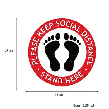 Round Waiting In Line Sticker Social Distance Keeping Safety Floor Sign People Gathering Control Adhesive Paster image