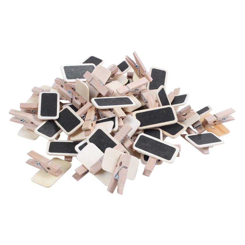 50 Mini Blackboard Wood Message Slate Rectangle Clip Clip Panel Card Memos Label Brand Price Place Number Table