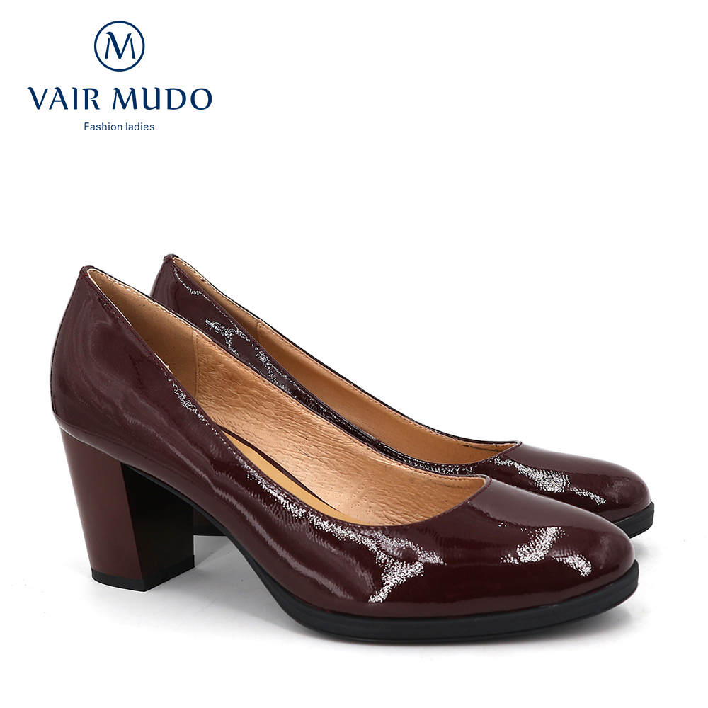 VAIR MUDO Women Pumps Square High-heeled Leather Handmade Shoes Round Head High-heeled Elegant Non-slip Cheap Office Shoes D140