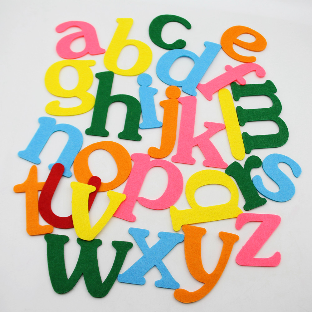 26pc English Alphabet For Kids Cartoon Puzzle Toy Home Kindergarten Decor Felts Letter Crafts DIY Cloth Scrapbooking Accessories