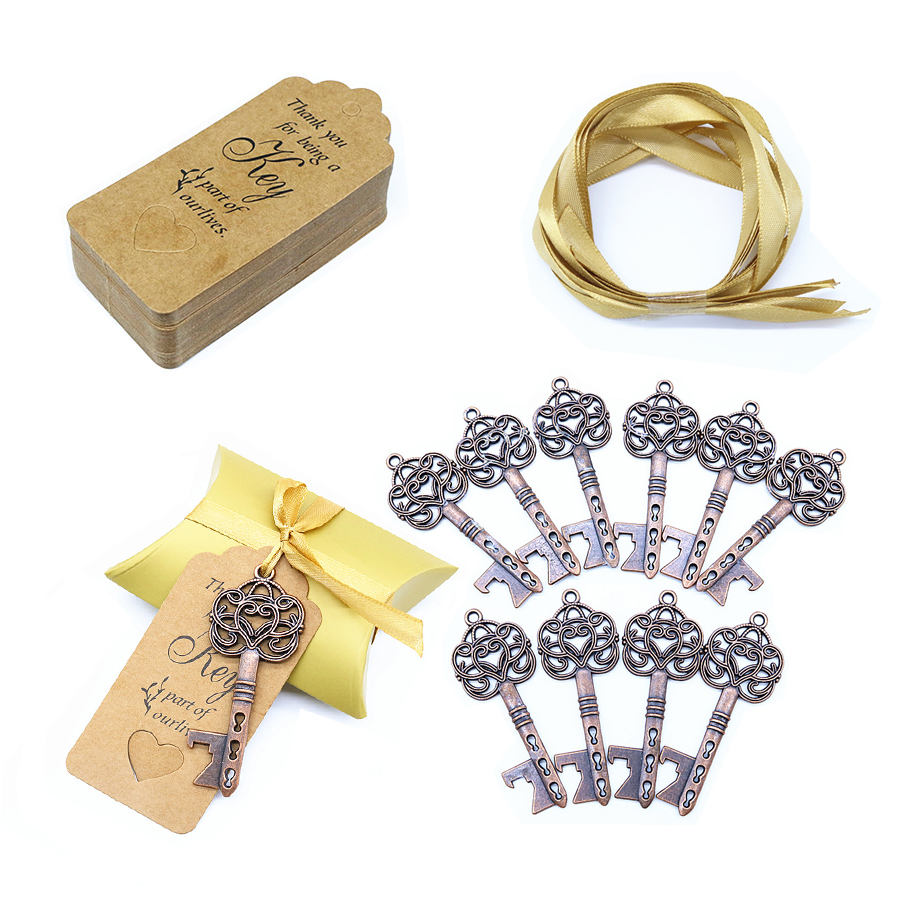 50 Set Vintage Key Shape Bottle Opener with Tags Card Wedding Party Favors Gift