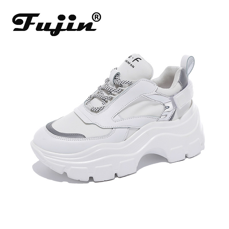 Fujin Sneakers Women Spring Dropshipping Thick Bottom Daddy Shoes Thick Bottom Round Toe Breathing Leisure Women Shoes